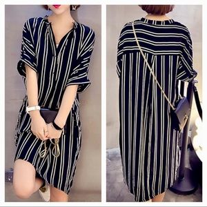 The Addison Black and White Striped Shirt Dress